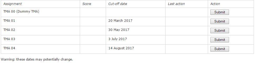 Open University Tutorial Dates